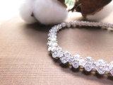 백색 다이아몬드 화이트 골드 도금된 도금을%s 가진 구리에 있는 수정같은 여자 팔찌