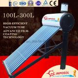 100L-300L Tube à vide en acier galvanisé sans pression Chauffage à eau solaire