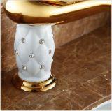 Neue Luxux sondern Griff-goldenen Messingbassin-Hahn aus