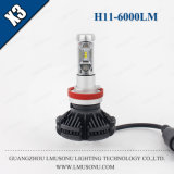 Accessorio automatico dell'automobile dell'indicatore luminoso 25W 6000lm del faro LED di Lmusonu X3 H8/H9/H11 LED