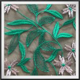 Шнурок вышивки цветка и листьев шнурка вышивки сетки полиэфира