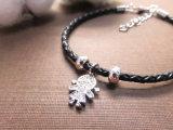Девочка алмазов форма очарование подвесной браслет с натуральной кожи