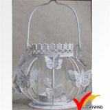 Crafts White Antique Butterfly Tealight Holder Metal