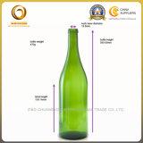 Форма бутылки красного вина зеленого цвета 750ml круглая (1257)
