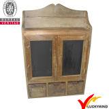Weinlese-schwarzer Speicher-kleiner hölzerner Wand-Schrank mit Glastüren