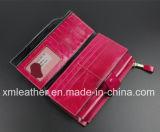 Бумажник портмона способа кожи верхнего качества длинний для женщин