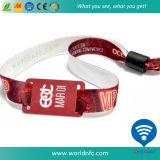 Wristband tecido do Hf tela descartável RFID de NFC para o partido do festival
