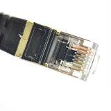 Cat7 blindó el cable de la corrección de Ethernet RJ45 con el enchufe plateado oro