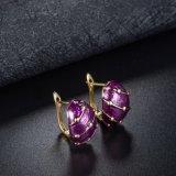 El pendiente púrpura del oro de la manera del color de la muchacha de Europa con electrochapa