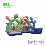 Interessantes Kind-Spielzeug-verrücktes Dinosaurier-Thema aufblasbares Funcity mit dem Plättchen, zum der Richtung der Kinder der Erforschung zu entwickeln