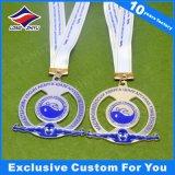 Médaillon dur en métal d'émail de concurrence de médaille de forme rouge russe de coeur avec la lanière
