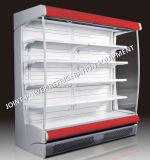 As frutas abrem o refrigerador do indicador para o supermercado