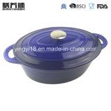 Hierro fundido esmaltado horno holandés Oval Cazuela de plato de cocina