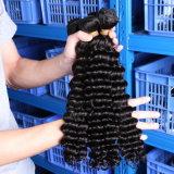 Aliexpress Großhandelsjungfrau-tiefe Welle 4 Bündel lockige peruanische Haar-Spinnen