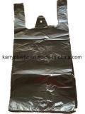 Sachet en plastique noir de gilet de T-shirt de Resuable pour l'épicerie