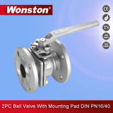 2PC ball valve Flanged end with to Mounting PAD DIN Pn16/40