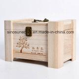 L'emballage en bois de pin de luxe boîte cadeau de thé en bois avec logo gravé