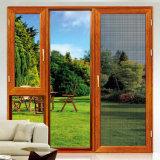 La impresión en color madera parrillas puertas correderas de aluminio de diseño