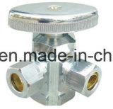 Угловой вентиль плакировкой Chorme выкованный латунью трехходовой с ручкой цинка