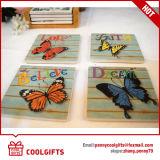 De vierkante Ceramische Cork Mat van de Kop met Patroon Butterlfly voor Gift