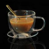 コーヒー・マグの耐熱性二重壁のガラスホウケイ酸塩の飲むガラス