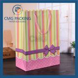 줄무늬는 인쇄했다 PP 밧줄 (CMG-MAY-059)를 가진 감미로운 종이 봉지를 포장하는 선물을