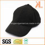 Бейсбольная кепка качества полиэфира & шерстей теплая обыкновенная толком черная