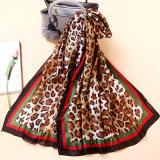 Leopard impresso lenço de seda lenço de decoração lenço de Viagem