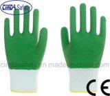 Латекс зеленого цвета вкладыша полиэфира полно покрыл перчатки работы безопасности