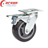 Hochleistungspolyurethan-Rad-Fußrolle des schwenker-5inches mit Gesamtverschluß