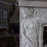 La mensola del camino di marmo solida del camino di stile Victorian intagliata bella mano caratterizza Satues femminile sugli alberini