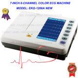 세륨 Approved Digital 6 채널 통신로 Electrocardiograph (EKG-1206A)