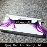 Lilibeauty 다채로운 눈 채찍질 검정 드래그 기털 가짜 속눈썹