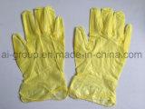Gelbes Puder-freie Vinylhandschuhe für Lebensmittelindustrie