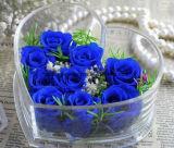 Rectángulo plástico de acrílico claro romántico de lujo de la flor de Rose