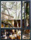 Aluminio color madera Casement Ventana con persianas de interior (ACW-043)