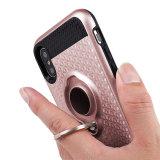 iPhoneのための1つの装甲耐震性のリングのKickstandの携帯電話の箱に付きハイブリッド2つ7 8