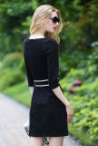 Frauen Side Einzelnes-Breasted Fashion Black Dress mit Belt