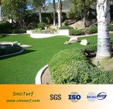 Relvado sintético da grama (fio da forma do diamante) para o jardim Home, exposição artificial do indicador do gramado