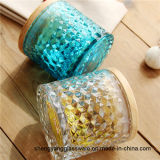 熱い販売法のガラス蝋燭のコップのガラスロウソクの木製のふたカラーガラスシーリング鍋が付いているガラス貯蔵タンクのガラス容器