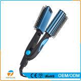 Elétrica reta LCD 3 em 1 Comb cabelo escova de cabelo Flat Iron alisador de cabelo