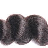 Trama indiana do cabelo humano da onda frouxa preta do fechamento do laço da cor da natureza