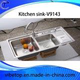 Double bassin de cuisine de l'acier inoxydable 304 de cuvette avec Drainboard