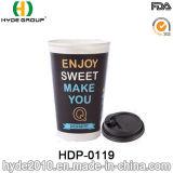 Copo de café impresso em papel duplo para café quente com tampa (HDP-0119)