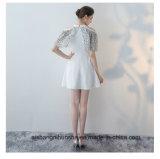 Chiffon curto com o vestido elegante da cabeçada do cabo do entalhe do laço