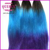 非常に厚くそして厚く100%年のバージンの人間の毛髪着色された#1b/の青か紫色の毛の拡張