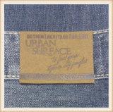 Correção de programa feita sob encomenda do couro gravado do plutônio do falso para a etiqueta do couro das calças de brim