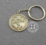 Trousseau de clés de forme de pièce de monnaie, boucle principale gravée de logo (GZHY-KA-002)