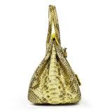 고명한 상표 디자인 Handmade 실제적인 Python 피부 가죽 여성 핸드백은을%s 가진 증명서를 인용한다