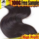 100%の加工されていない毛の拡張、ブラジルの人間の毛髪の波